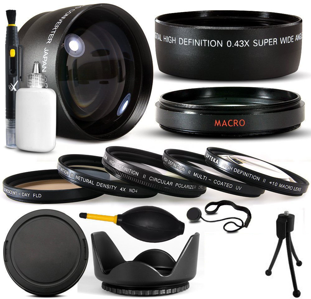 10 Piece Ultimate Lens Package For Panasonic Lumix DMC-GH3 Mirrorless Micro Four Thirds Digital Camera Includes .43x Macro Fisheye + 2.2x Telephoto Lens + Pro 5 Piece Filter Kit