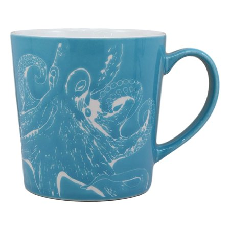 Ebros Nautical Ocean Marine Octopus Drinking Beverage Blue Stoneware Ceramic Mug 16oz Drink Coffee Cup Safari Themed Glazed Earthenware Kitchen And Dining Mugs Accessory Coastal Sea Kraken Decor - Nautical Themed Food Ideas