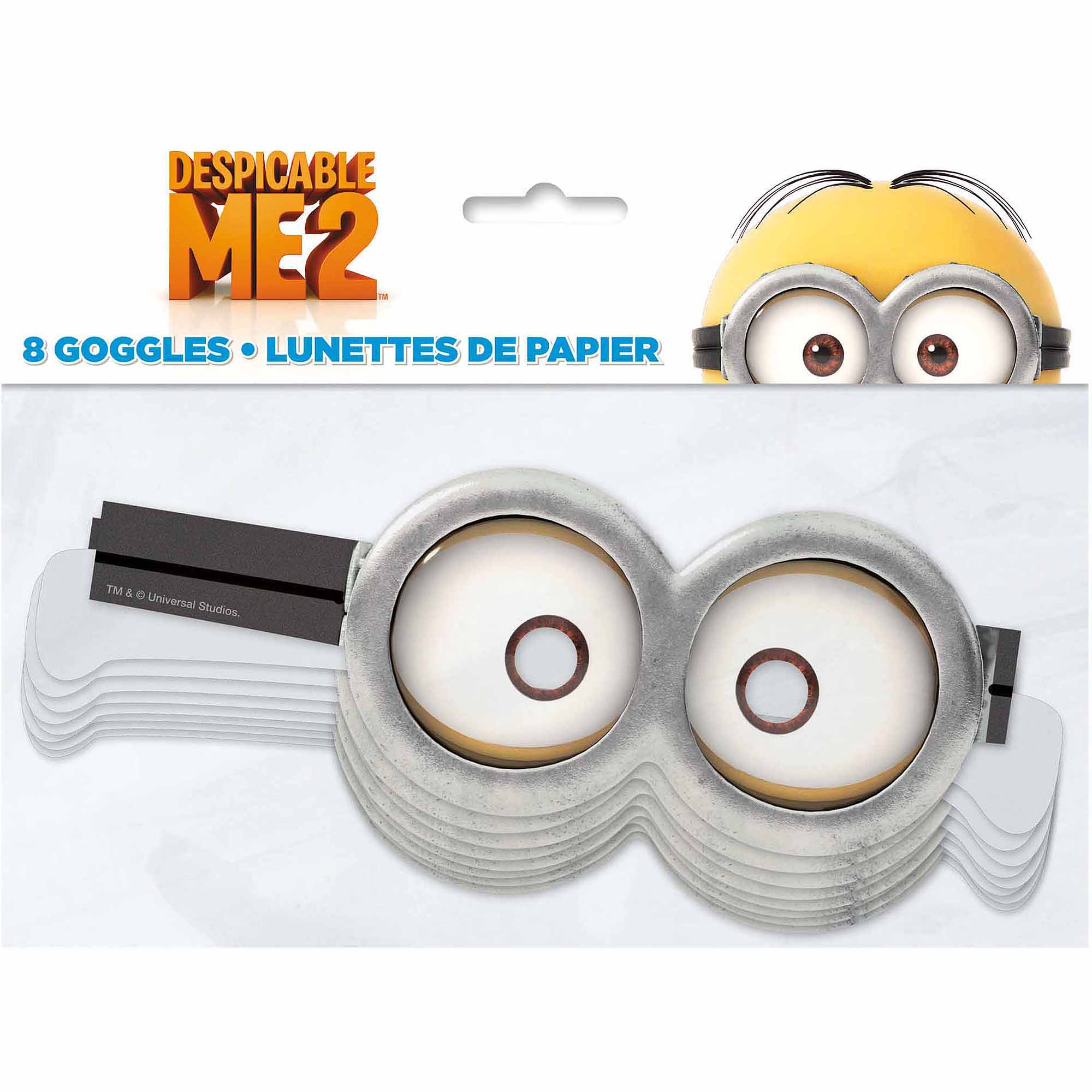Paper Despicable Me Minion Goggles, 8ct