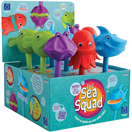 The Sea Squad Puppets Party Pack, Shark/Angler/Octopus/Clam, Pack of 9