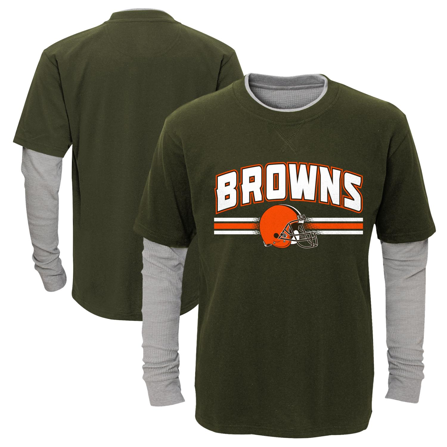 "Cleveland Browns Youth NFL ""Bleachers"" L S Faux Layer Thermal Shirt by Outerstuff"