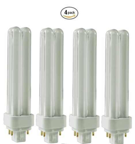 (4 Pack) CFL Bulbs Direct Generic Replacement for Panasonic FDS18E35/4 18W 3500K Double Tube, 4 Pin G24q-2 Base, Compact Fluorescent Light Bulbs