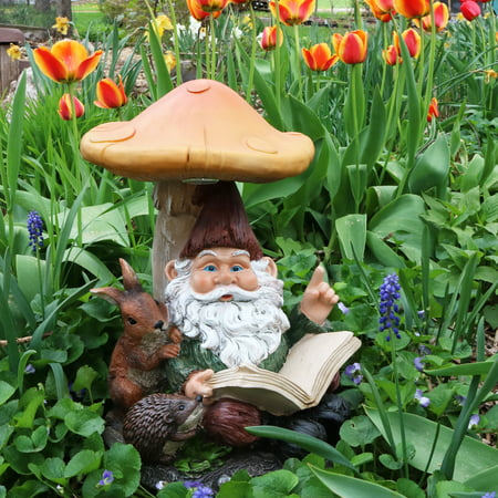 Sunnydaze Bernard the Bookworm Garden Gnome with Mushroom and Solar Light, Outdoor Lawn Statue, 16 Inch Tall Ceramic Garden Gnomes