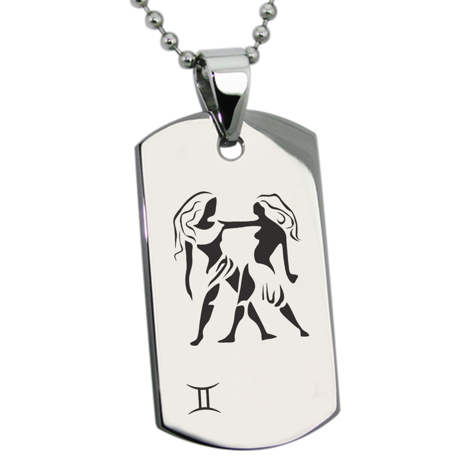 Stainless Steel Gemini Astrology Zodiac Sign Engraved Dog Tag Pendant