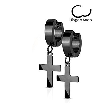 14MM Hoop Earrings Surgical Stainless Steel Rhodium Plated Earrings For Men Women Huggie Hypoallergenic Cross Dangle Hinged Hoop Earrings (Black)