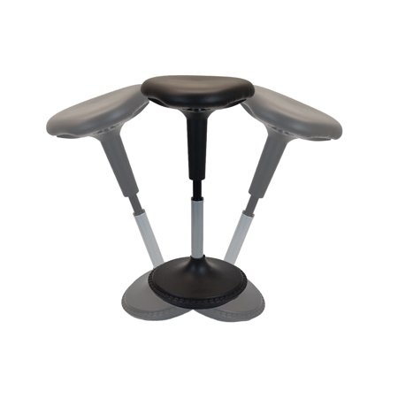 NEW Wobble Stool Adjustable Height Active Sitting Balance Perching Chair for Office Standing Desk Best Tall Swivel Ergonomic Stability Sit Stand Up Perch Stool (Black, Triangular, (Best Office Chair To Sit Cross Legged)