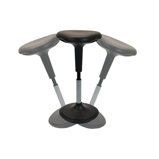 NEW Wobble Stool Adjustable Height Active Sitting Balance Perching Chair for Office Standing Desk Best Tall Swivel Ergonomic Stability Sit Stand Up Perch Stool (Black, Triangular, Vinyl)