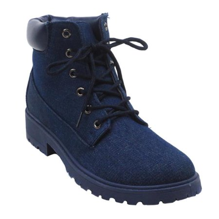 Jesco Footwear L-3830-041-009 Kimber-Mil-8 Blue Womens Low Heel Ankle High Lace Up Fashion Winter Fall Combat Boots 2018 - Denim, Size 9 (Long Fall Boots Tutorial)