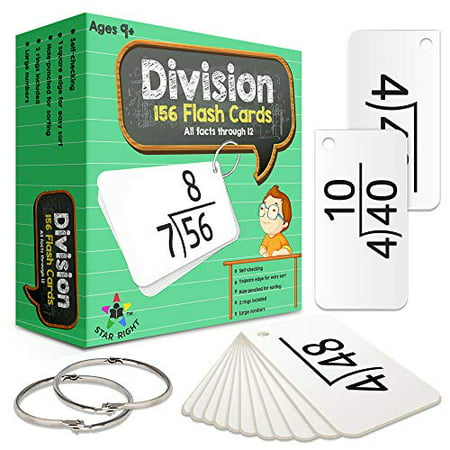 Star Right Education Math Division Flash Cards, 0-12 (All Facts, 156 Cards) With 2 Rings - image 1 of 1
