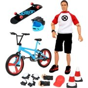 Click N' Play Sports And Adventure Bike and Skateboard Action Figure Play Set With Accessories.