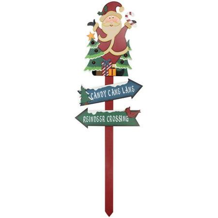 Christmas Arrow Signs.Holiday Time Christmas Decor Santa And Trees Wood Yard Stake 30