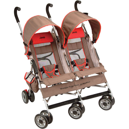 Jeep - Wrangler Twin Sport All-Weather Umbrella Stroller, Jeep Heat Red
