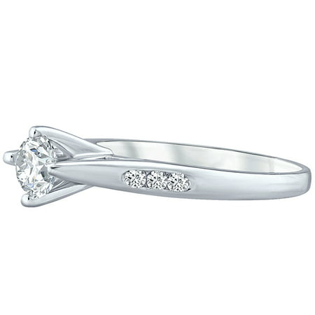 Round Natural Diamond Solitaire 4 Prong Engagement Ring Solid 10k White Gold