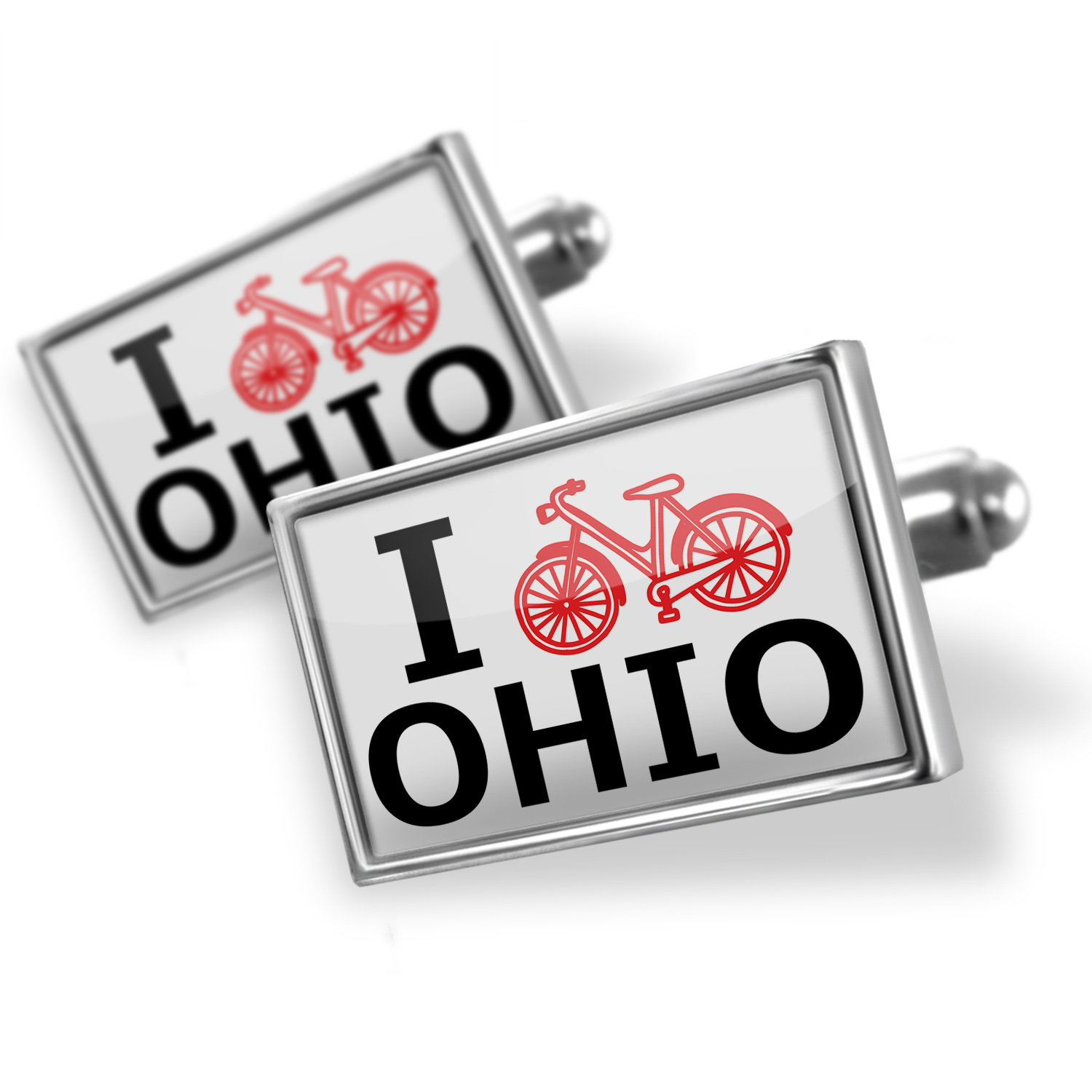 Cufflinks I Love Cycling State Ohio - NEONBLOND