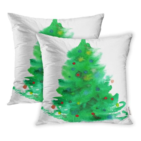 Christmas Tree Not Taking Water.Ywota Green Color Watercolor Christmas Tree Water Xmas Pillow Cases Cushion Cover 16x16 Inch