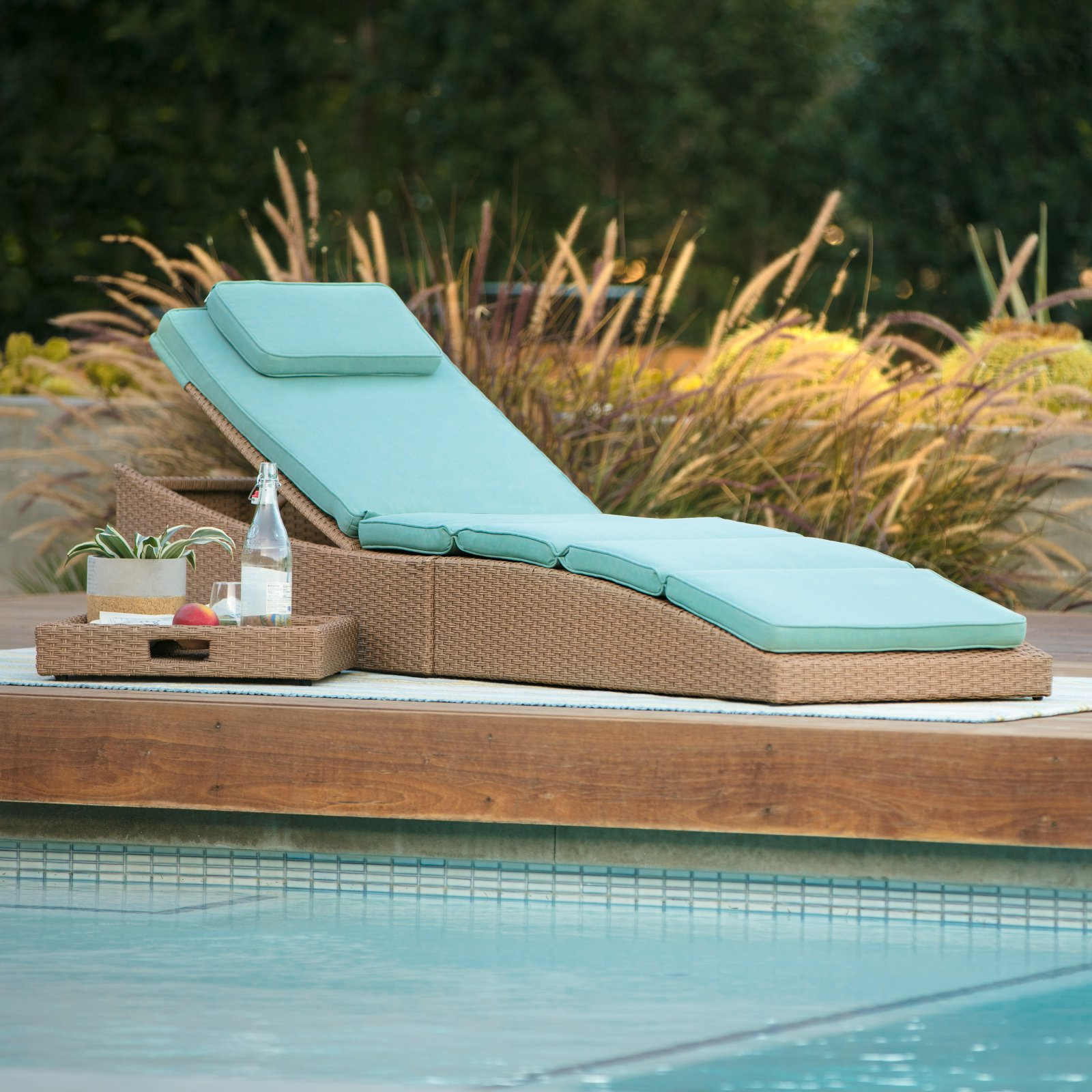 Coral Coast Tanna All Weather Wicker Folding Outdoor Chaise Lounger with Cushion - Natural