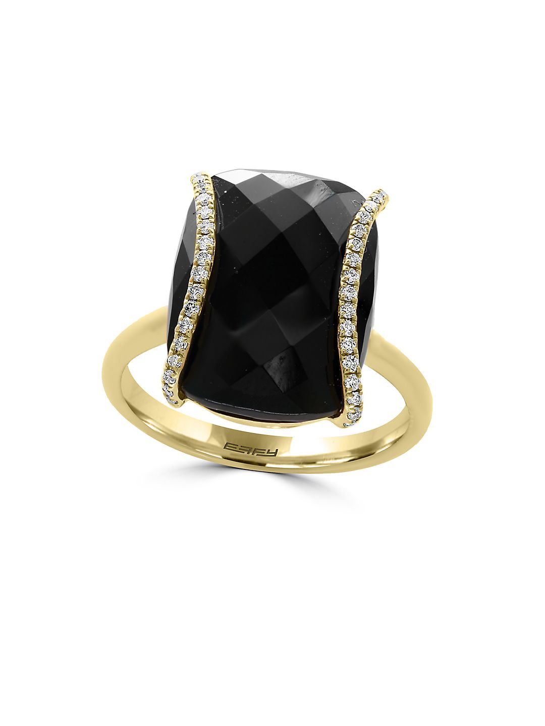 Eclipse Diamonds, Onyx and 14K Yellow Gold Ring