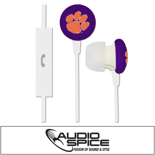Clemson Tigers Ignition Earbuds + Mic