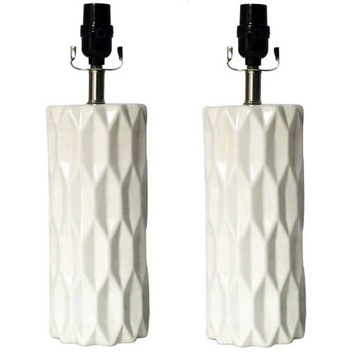 Better Homes and Gardens Gypsum Faceted Lamp Bases, 2-Pack
