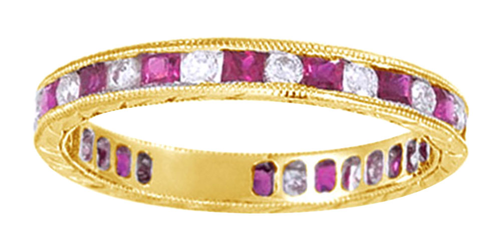 Princess Cut Simulated Pink Ruby With Natural Diamond Eternity Band Ring In 14K White Gold by Jewel Zone US