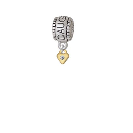 Mini Clear Crystal Birthday Crystal Gold Tone Heart - Daughter Charm Bead