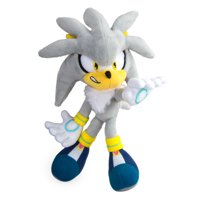 Silver Sonic Collector Plush Toy | Official Licensed Product from TOMY | Featuring Fine Details and Embroidery