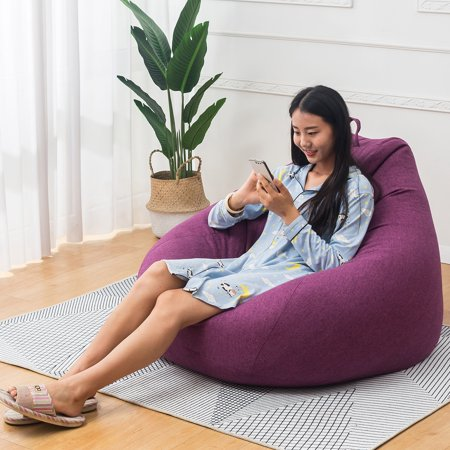 NK Extra Soft Beanbag Chair, Memory Foam Bean Bag Seat Chair with Natural Removable Cotton Linen Fabric Lazy Sofa Furniture Couch Tatami-35.4'' x 43.3'' - image 2 of 3