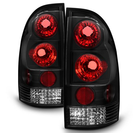 - Fits 05-15 Toyota Tacoma Pickup Truck Black Bezel Rear Tail Lights Brake Lamps