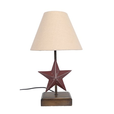 University Texas Lamp - Country Rustic Texas Barn Star Table Lamp