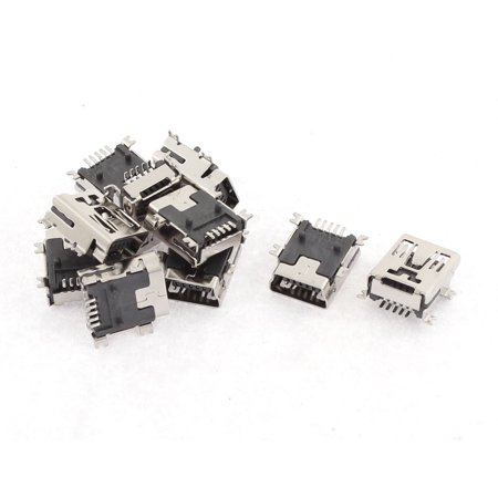 10Pcs Type B Female 5 Terminals Socket Solder Micro USB Connector Port (Usb Micro Female Solder)