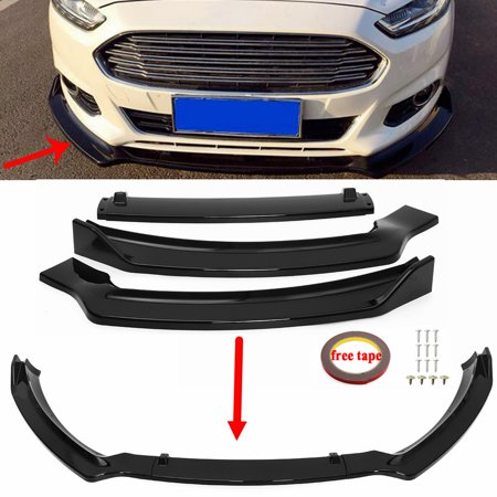 Abs Cover - 3PCS For Ford Fusion/Mondeo 2013-2016 Gloss Black ABS Front Bumper Lip Cover Trim (Instruction Not Included)