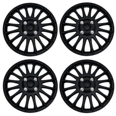 Set of 4  Matte Black Hubcaps 15