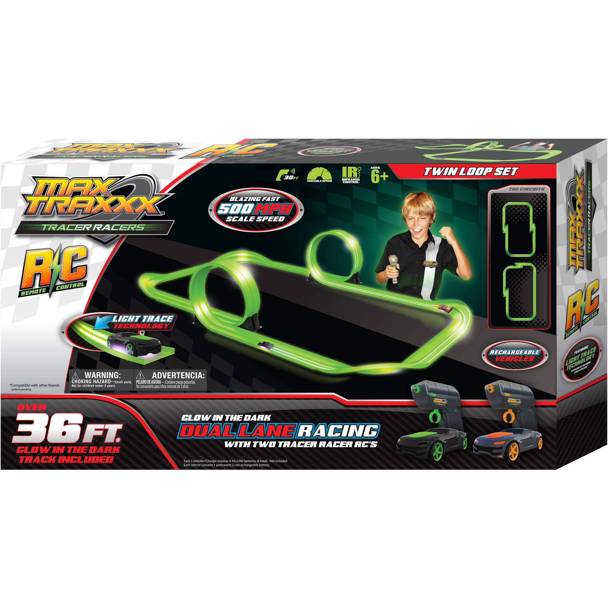 Max Traxxx Tracer Racer Glow-in-the-Dark R/C Dual Loop Set, 36' Track
