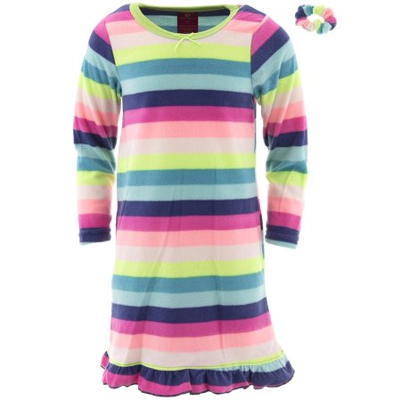 - Chili Peppers Girls Colorful Stripes Fleece Nightgown