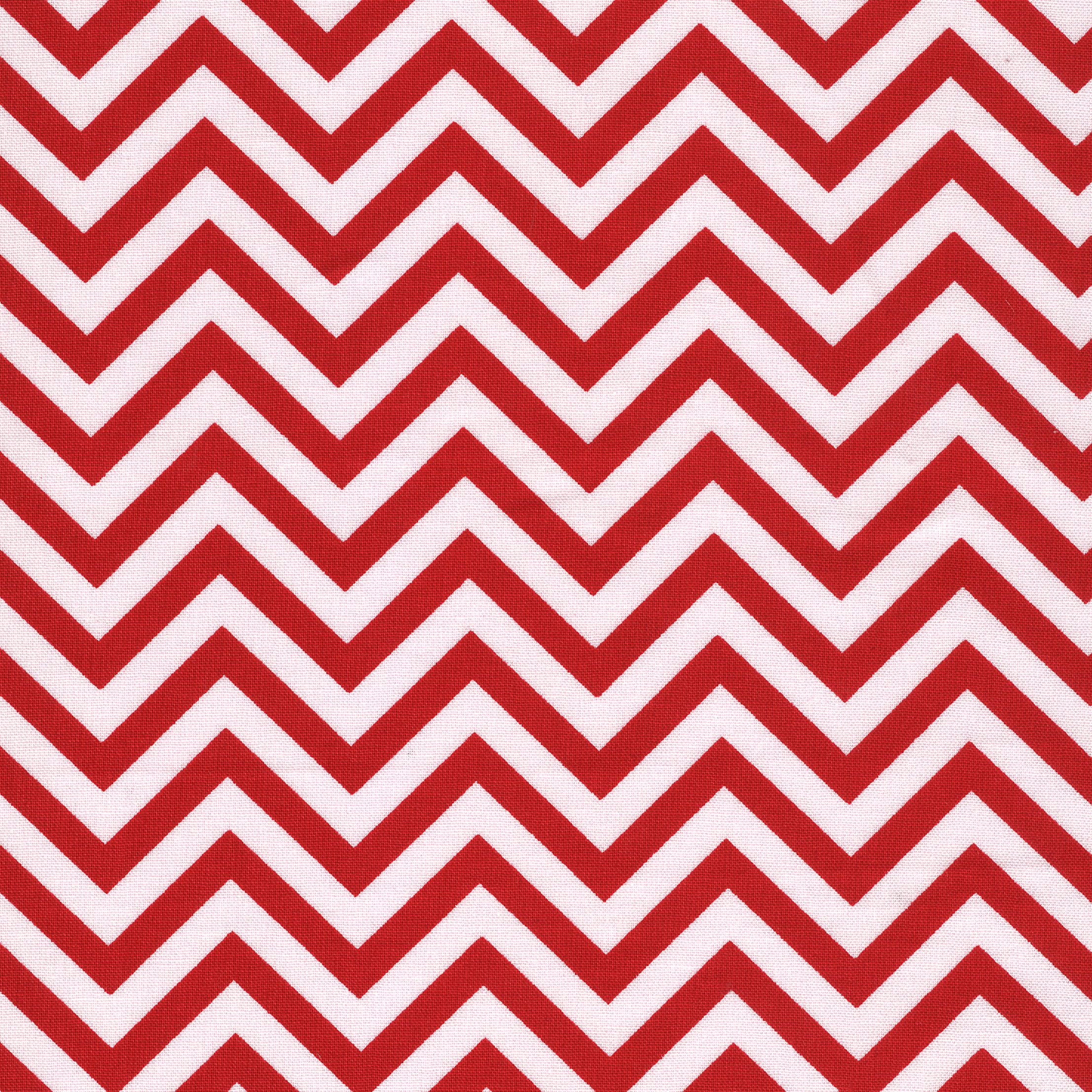 SHASON TEXTILE (3 Yards cut) 100% COTTON PRINT QUILTING FABRIC, RED / WHITE ZIGZAG