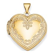 Leslies Fine Jewelry Designer 14K Yellow Gold Heart Locket (26x22mm) Pendant Gift