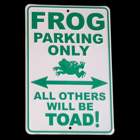 Frog Parking Only Tin Sign All Others Toad Funny Wall Art Froggy Metal Plaque ()