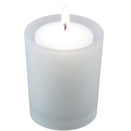 12 Glass Candle Holders with Thirty-Six 15-Hour Votive Candles in Clear or Frosted