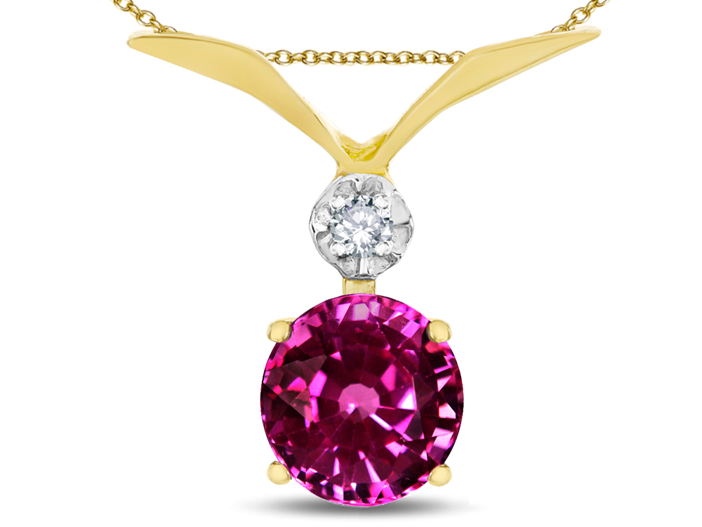 Star K Round 7mm Simulated Pink Tourmaline Pendant Necklace in 14 kt Yellow Gold by