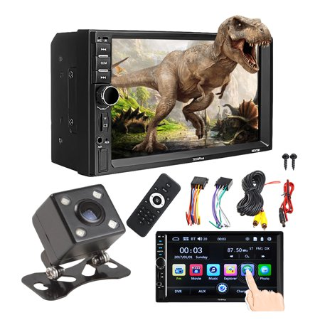 7'' 1080P Touch Screen Car MP5 Player 2 Din Radio AM/FM AUX bluetooth USB Stereo Receiver In-Dash MP3 MP5 CD DVD Player For Car + Rear View Camera (Car Audio Cd And Dvd Player Aux)
