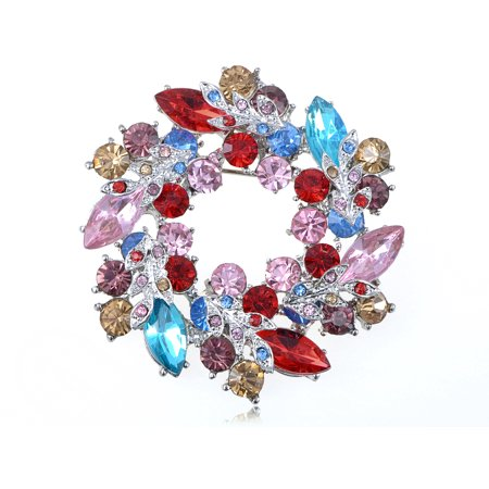 Violet Colorful Aqua Bubble Festive Holiday Color Floral Reef Crystal Brooch Pin