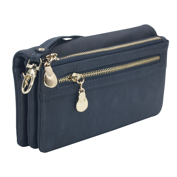 Women PU Leather Large Capacity Wallet Double Zipper Wallet Clutch Phone Pocket