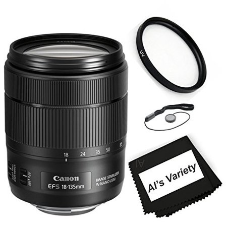 Canon EF-S 18-135mm f/3.5-5.6 IS USM Zoom DSLR Lens Bundle(White Box ) Kit With + High Definition UV Filter + Al's Variety Premium Cleaning Cloth