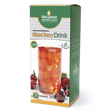Metabolic Research Center Mixed Berry Protein Drink, 15g Protein, Sweetened with Stevia, Gluten Free, 7 Liquid Concentrate