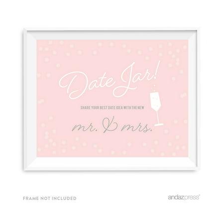 Date Jar - Share Best Date Idea Blush Pink and Gray Pop Fizz Clink Wedding Party Signs (Date Jar)