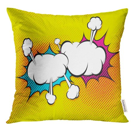 CMFUN Strip Speech Explosion Bubble Collision Pop Style Funny Balloon Comics Book Page Cloud Pillow Case 18x18 Inches