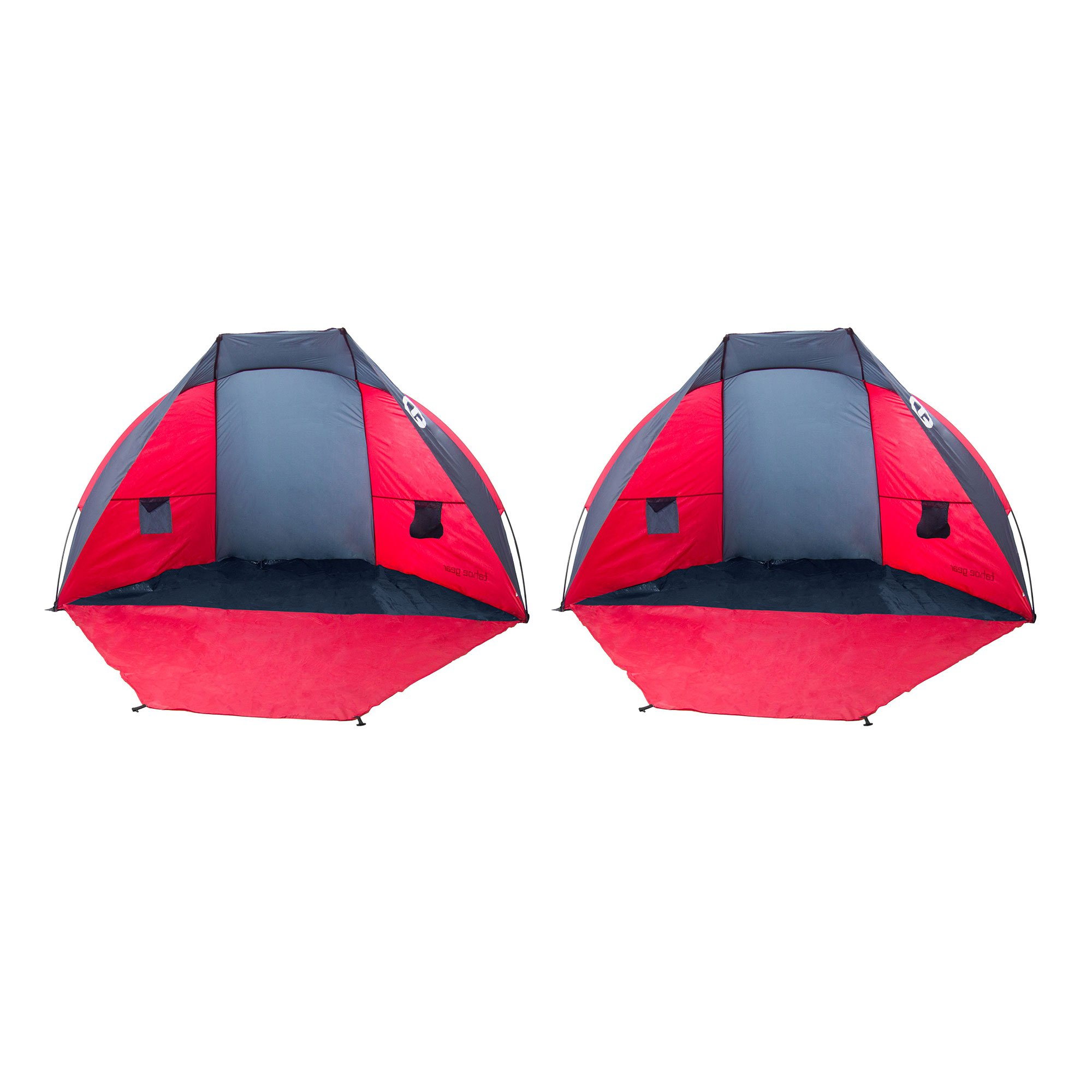 Tahoe Gear Cruz Bay Summer Sun Shelter and Beach Shade Tent Canopy, Red (2 Pack)