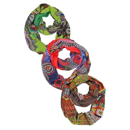 Colorful Patterned Infinity Circle 3-Pack Scarf -