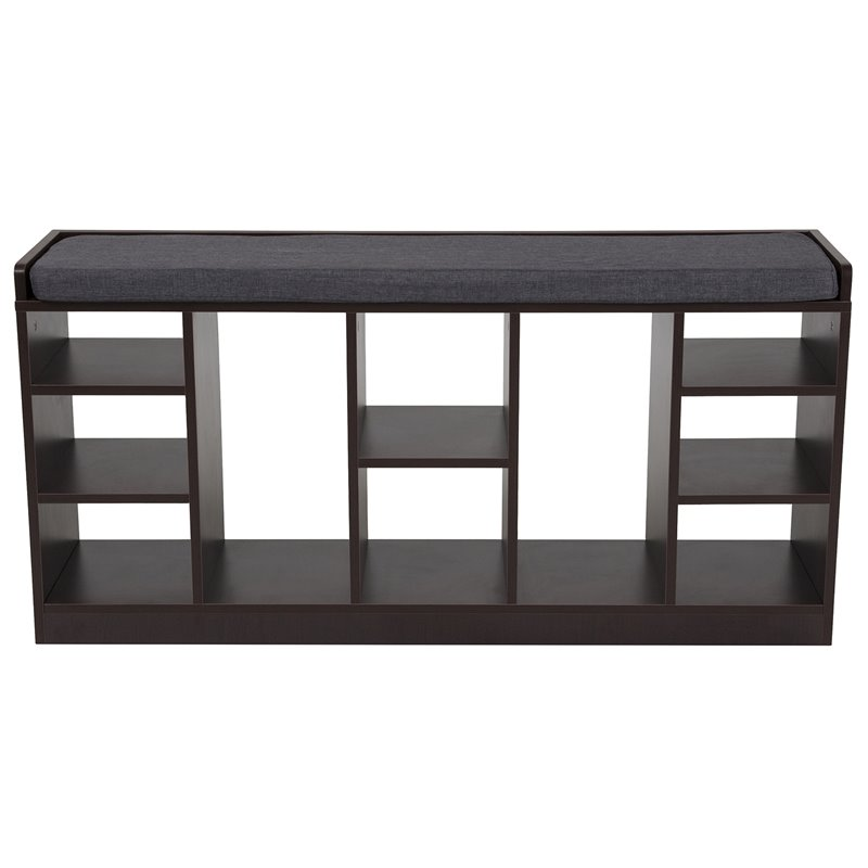 flash furniture storage living room bench in charcoal
