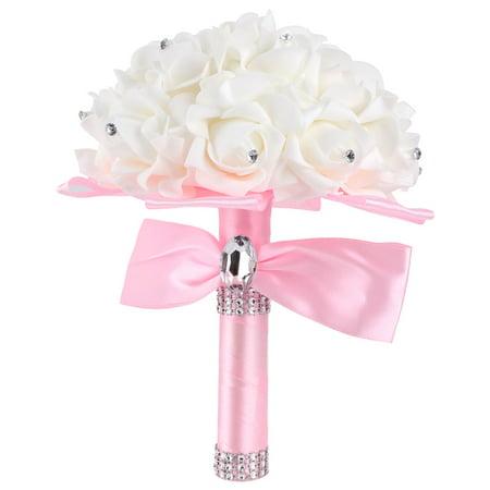 Bridesmaid Bridal Wedding Bouquet Rhinestone Decor Artificial Rose
